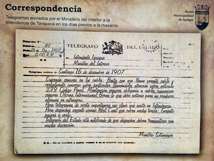 Museo Regional-eko posterra: Barne Ministroaren telegrama. Iquique, Txile.