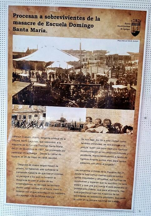 Museo Regional-eko posterra: Bizirik ateratako langile batzuk auziperatu egin zituzten gero. Iquique, Txile.
